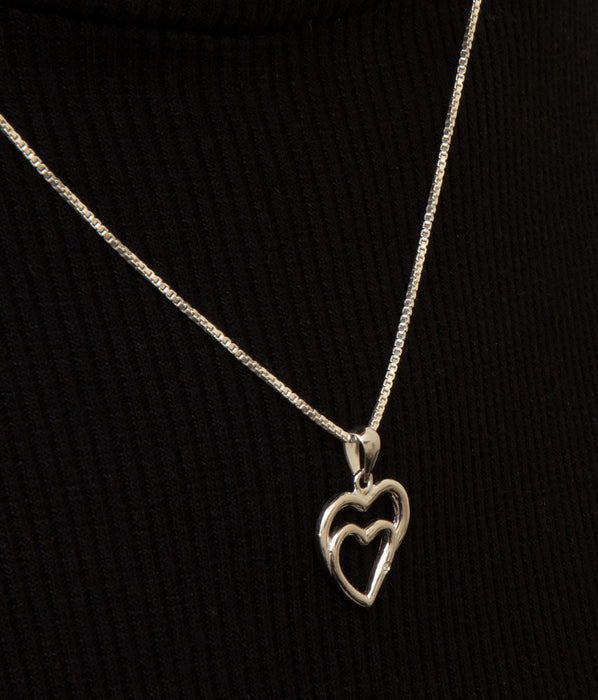 Sterling Silver Diamond Heart Pendant - LooptyHoops