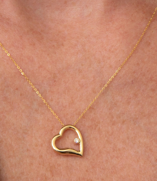14k Yellow Gold Diamond Heart Necklace (small) - LooptyHoops