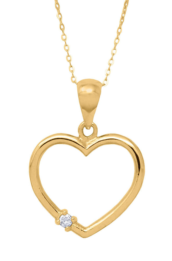 14k Yellow Gold Diamond Heart Necklace (medium)