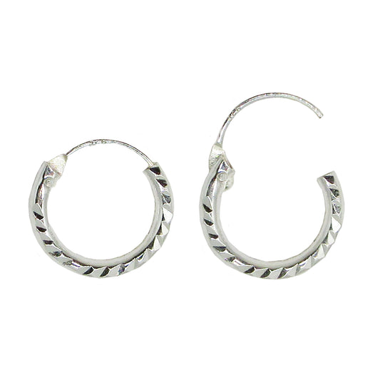 Sterling Silver Diamond-Cut Hinged Endless Hoop Earrings (2mm Tube), 14mm - LooptyHoops