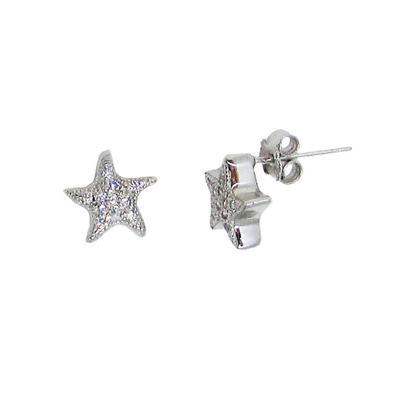 Sterling Silver Cubic Zirconia Textured Star Stud Earrings