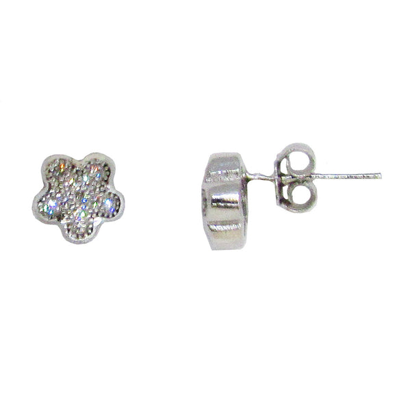 Sterling Silver Cubic Zirconia Rounded Star Stud Earrings
