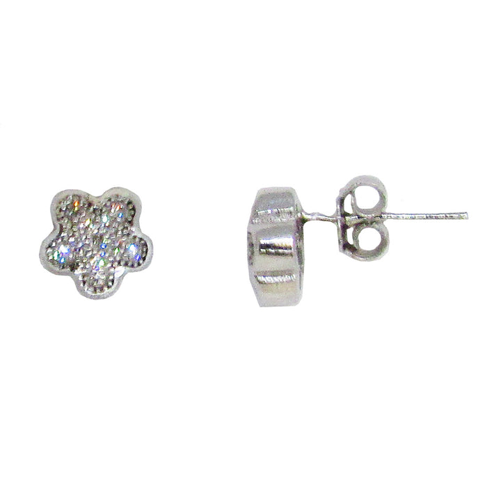 Sterling Silver CZ Rounded Star Stud Earrings (7mm) - LooptyHoops