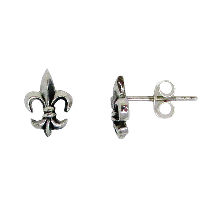 Sterling Silver Fleur-de-lis Stud Earrings (9mm) - LooptyHoops