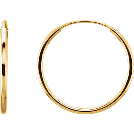 14k Small Yellow Gold Thin Endless Hoop Earrings (15mm) (1mm Tube) - LooptyHoops