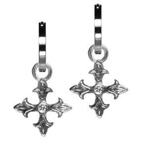Sterling Silver Diamond Fleury Cross Hoop Earring Charms