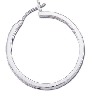 14k White Gold Channel Set Diamond Hoop Earrings - LooptyHoops