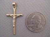 Medium 14K Yellow Gold Crucifix Cross Pendant, 33mm x 20mm