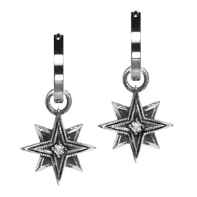 Sterling Silver Diamond Starburst Hoop Earring Charms