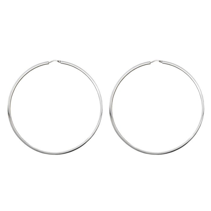 Sterling Silver Rhodium-Plated Large Square-Tubed Hinged Endless Hoops (2mm Thick), 85mm - LooptyHoops