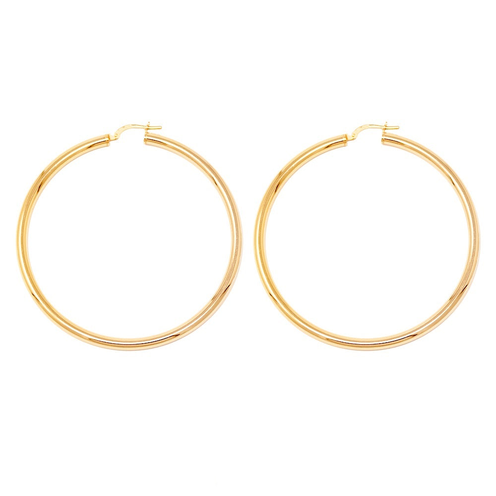 d1b764bb30445 14k Gold-Plated Sterling Silver Thick Click-Down Hoop Earrings (3mm Thick),  Large Sizes
