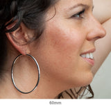 Sterling Silver Thick Rhodium-Plated Click-Down Hoop Earrings (3mm Thick), Large Sizes - LooptyHoops