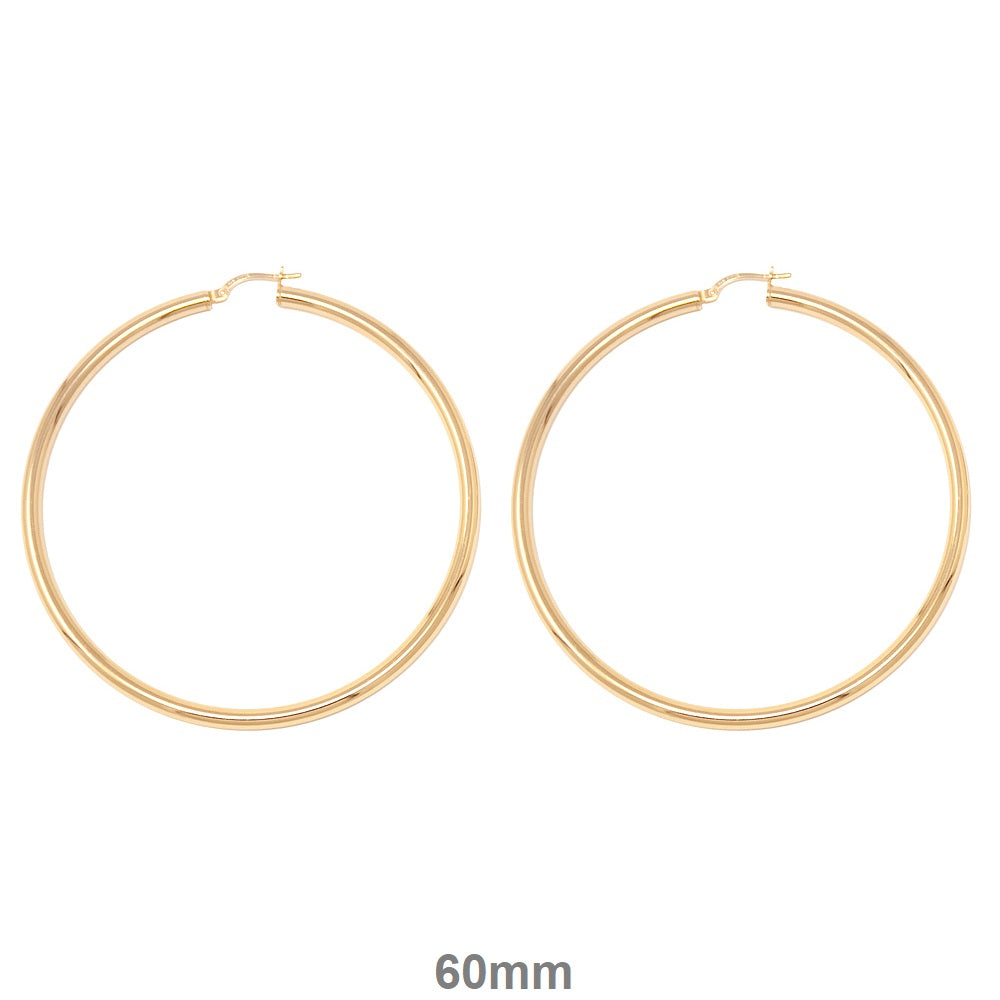c5b49bff03007 14k Gold-Plated Sterling Silver Thick Click-Down Hoop Earrings (3mm ...