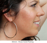 14k Gold-Plated Sterling Silver Thick Click-Down Hoop Earrings (3mm Thick), Large Sizes