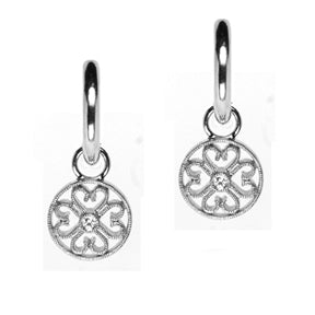A pair of earring charms with diamonds and a four leaf clover filagree design meant to dangle from hoop earrings.