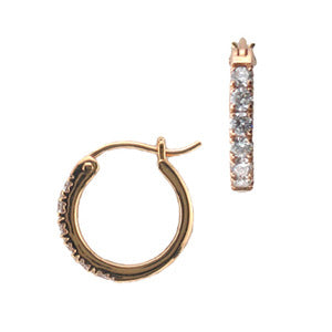 18k Rose Gold French Pave Diamond Hoop Earrings - LooptyHoops