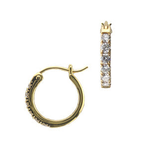 18k Yellow Gold French Pave Diamond Hoop Earrings - LooptyHoops