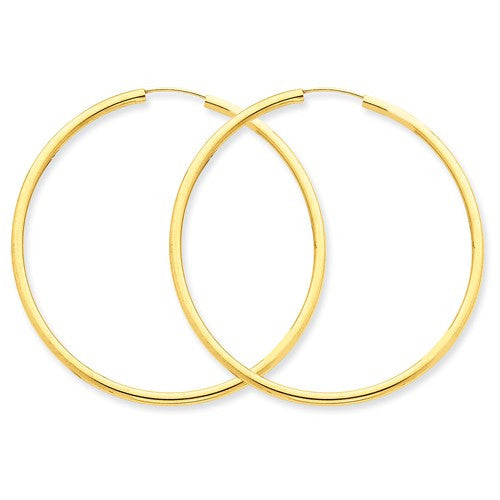 Large 14k Yellow Gold Continuous Endless Hoop Earring (2mm Tube), 2 Inches (50mm) - LooptyHoops