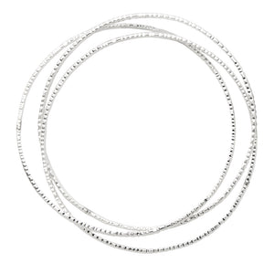 Sterling Silver Intertwining Tripled & Rippled Bangle Bracelets, 68mm - LooptyHoops