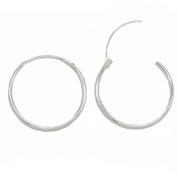 Sterling Silver Hinged Continuous Endless Hoop Earrings