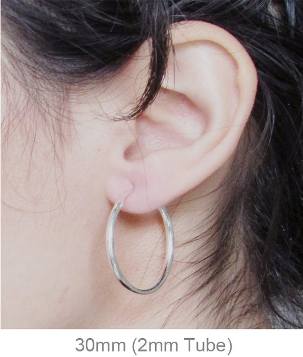 Sterling Silver Hinged Continuous Endless Hoop Earrings, All Sizes - LooptyHoops