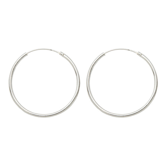 Sterling Silver Hinged Continuous Endless Hoop Earrings, (1.5mm Tube), All Sizes