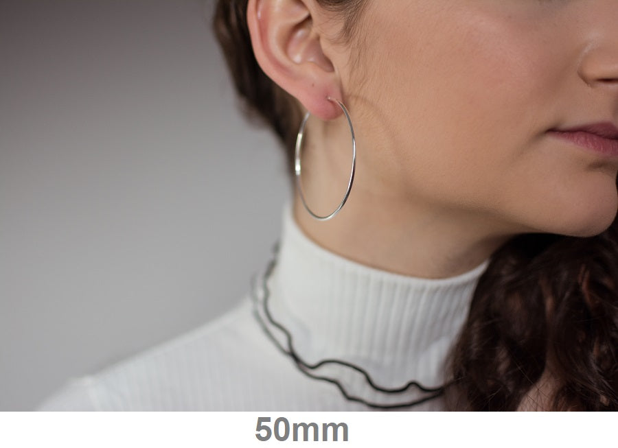 Sterling Silver Hinged Continuous Endless Hoop Earrings, (1.5mm Tube), All Sizes - LooptyHoops