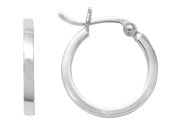 Sterling silver square tube hoop earrings with click-down clasp