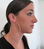 Large Sterling Silver Hinged Endless Hoop Earrings, All Sizes