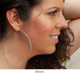 Sterling Silver Hinged Continuous Endless Hoop Earrings, All Sizes