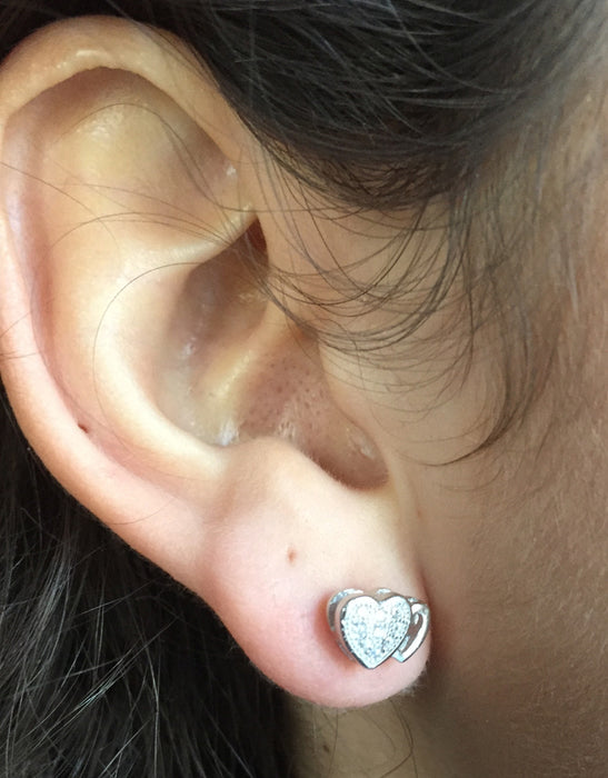 Sterling Silver CZ Textured Double Heart Stud Earrings (9mm) - LooptyHoops