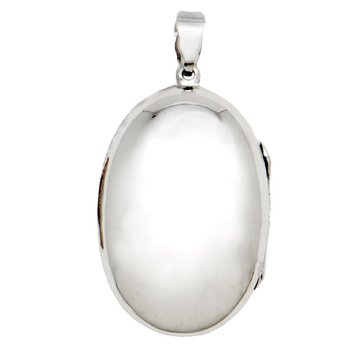Large Sterling Silver High-Polish Oval Locket Pendant, 35mm - LooptyHoops