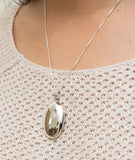 Large Sterling Silver High-Polish Oval Locket Pendant, 35mm