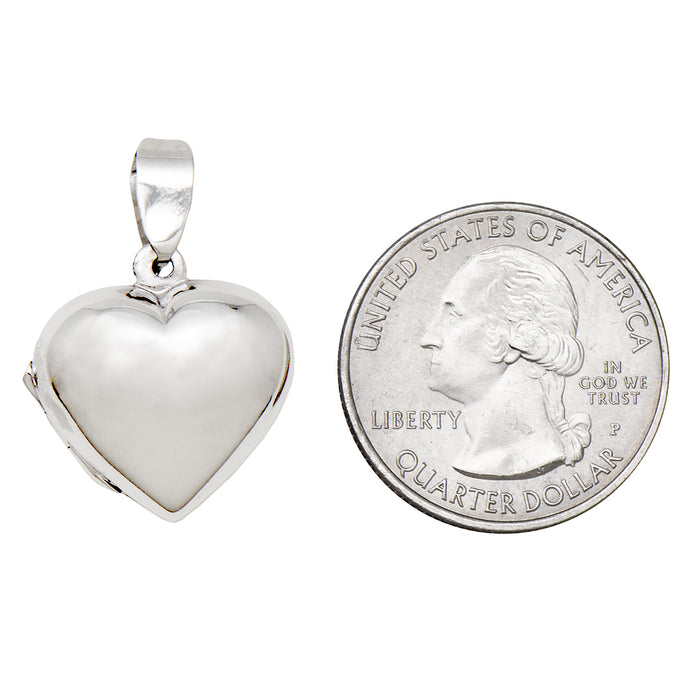 "Sterling Silver Classic Heart Locket Pendant Necklace, 19mm pendant, 18"" box chain - LooptyHoops"
