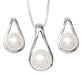 Your Choice: Sterling Silver Freshwater Pearl Post-Back Teardrop Earrings - OR - Matching Freshwater Pearl Pendant & Necklace - OR – Gift Set of All Three - LooptyHoops
