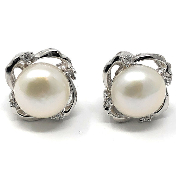 Sterling silver swirls with gemstones surround a pearl on post-back stud earrings