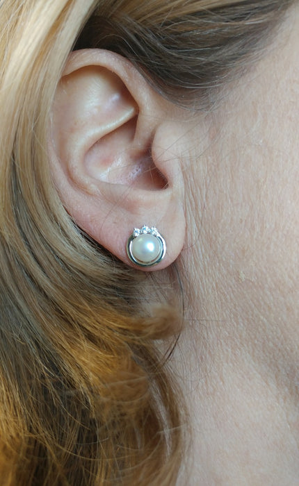 Your Choice: Sterling Silver CZ Freshwater Pearl Stud Earrings - OR - Matching Freshwater Pearl Pendant & Necklace - OR - Gift Set of All Three - LooptyHoops