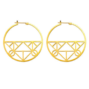 Unique Geometric Click-Down Hoop Earrings Plated in Gold or Rhodium, 46mm