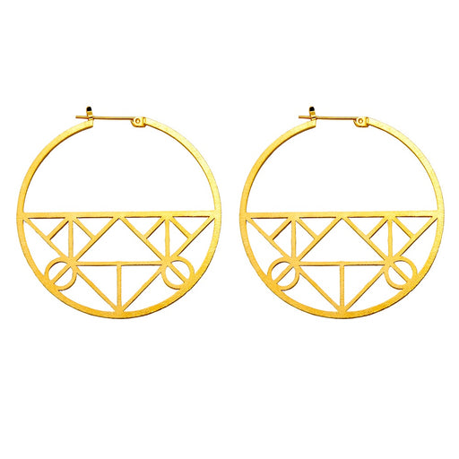 Unique Geometric Click-Down Hoop Earrings Plated in Gold or Rhodium, 46mm - LooptyHoops