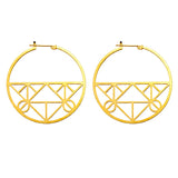Large plated brass hoop earrings with click-down clasp and geometric pattern in bottom half of hoop
