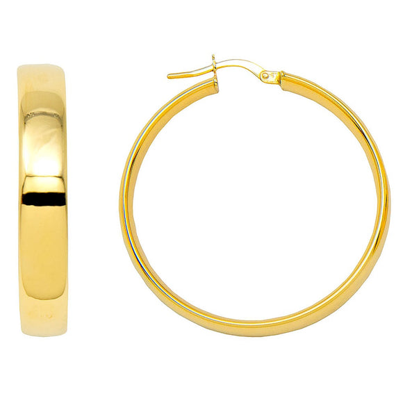14k yellow gold flat-tube hoop earrings with click-down clasp