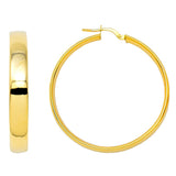 14k Yellow Gold Flat & Wide Hoop Earrings (5mm Wide), Two Sizes