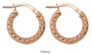 14k gold sparkly hoop earrings with diamond cut texture and click-down clasp