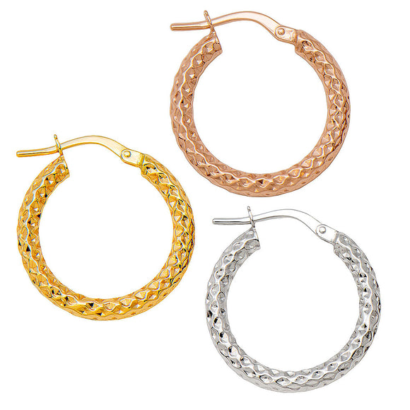 14k Gold Sparkly Diamond-Cut Hoop Earrings (2.5mm Thick), Small Sizes