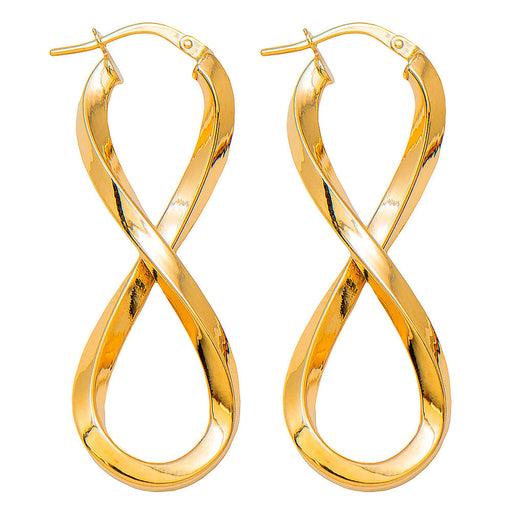 14k Yellow Gold Large Square-Tubed Figure-Eight Infinity Hoop Earrings, 42mm - LooptyHoops