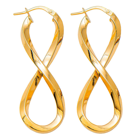 14k yellow gold figure eight shaped hoop earrings with square tube and click down clasp