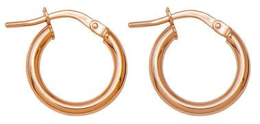14k Rose Gold Classic High-Polish Hoop Earrings (2mm Thick - 10mm) - LooptyHoops