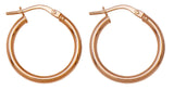 14k Gold Classic High-Polish Hoop Earrings (2mm Thick), All Sizes