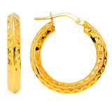 14k Gold Small Knife-Edged Sparkly Diamond-Cut Hoop Earrings (3mm Thick), 15mm