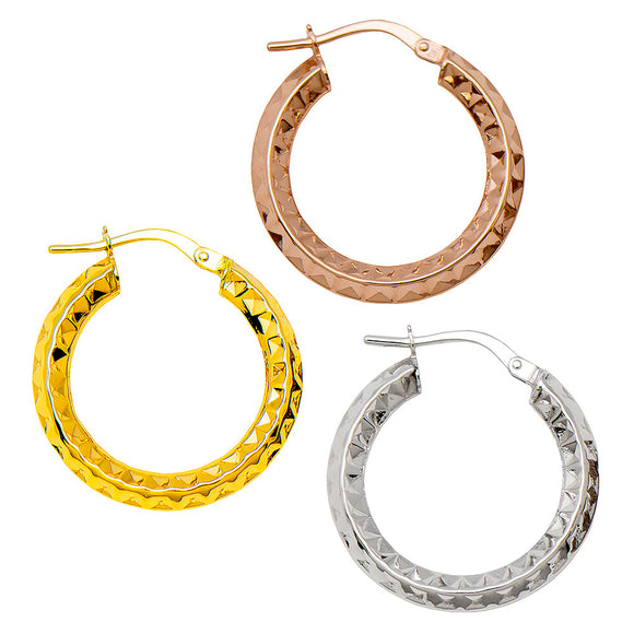 14k gold knife-edge hoop earrings with diamond-cut texture and click-down clasp